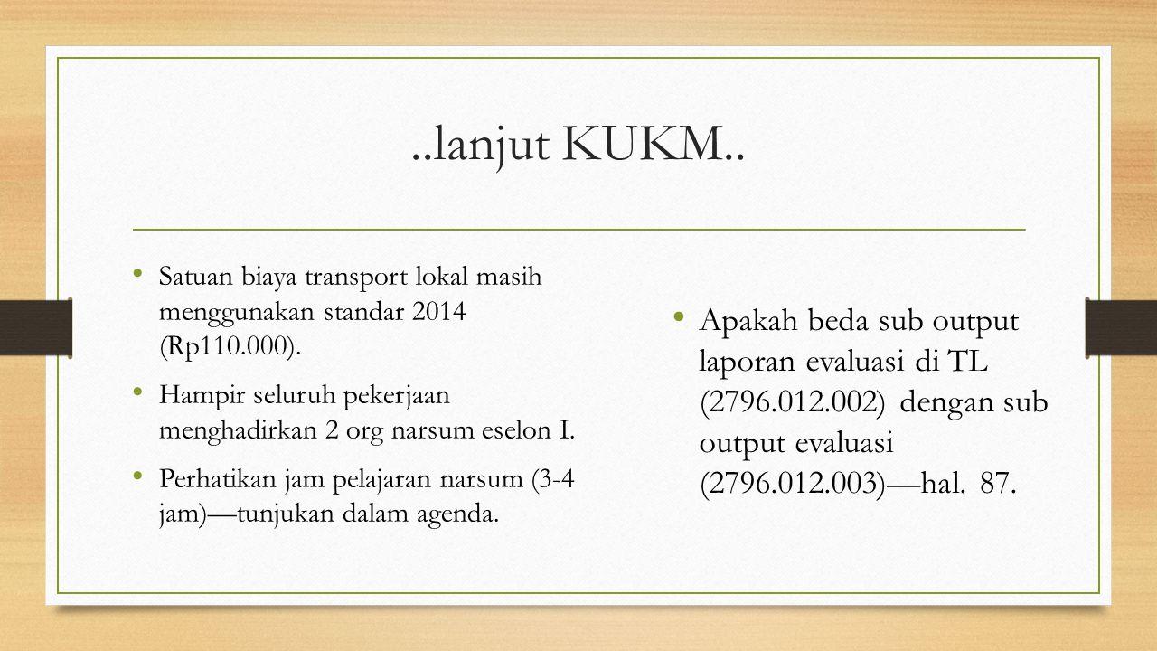 ..lanjut KUKM.. Satuan biaya transport lokal masih menggunakan standar 2014 (Rp110.000).