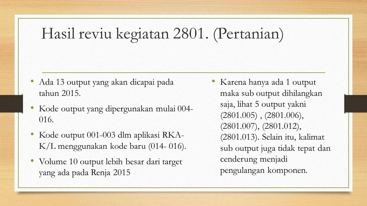 Hasil reviu kegiatan 2801. (Pertanian)