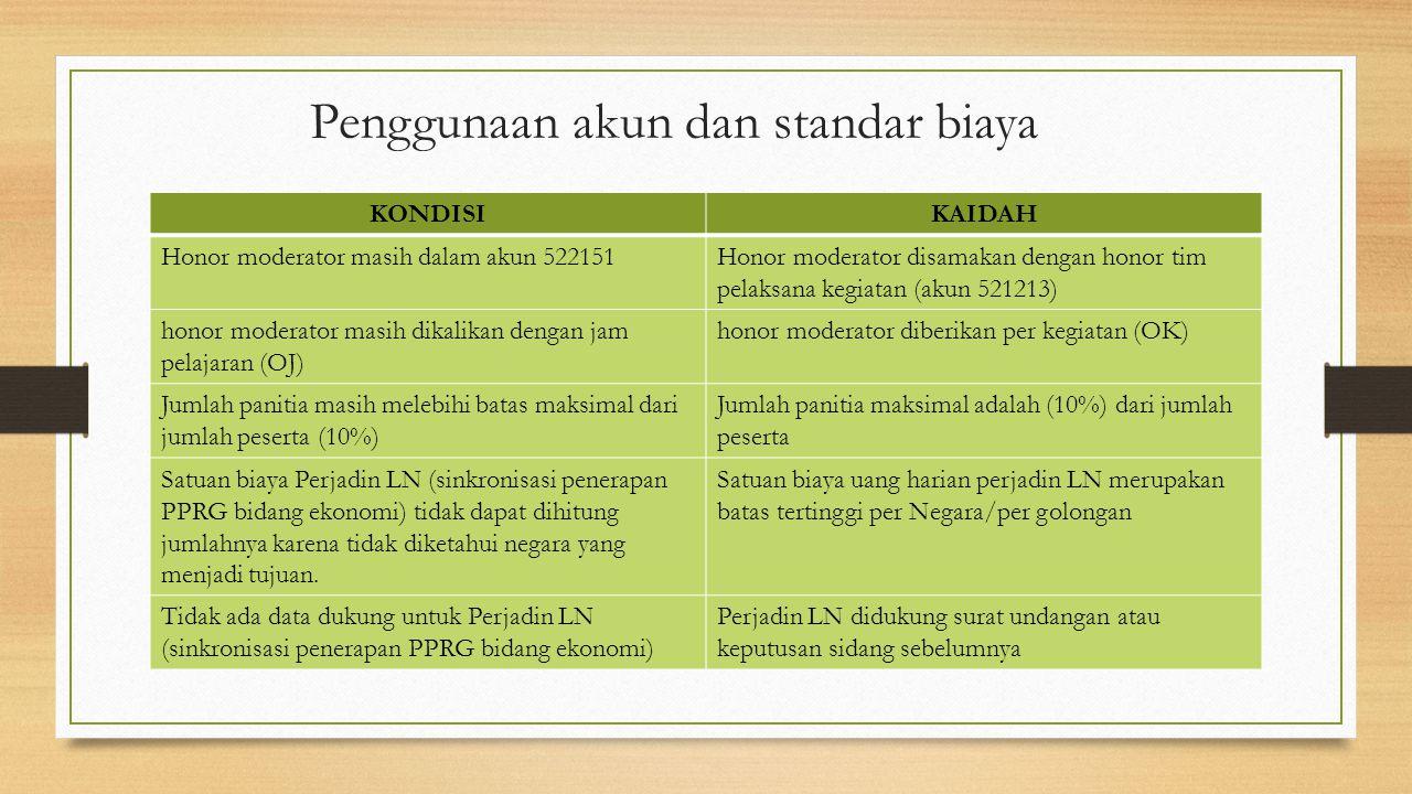 Penggunaan akun dan standar biaya