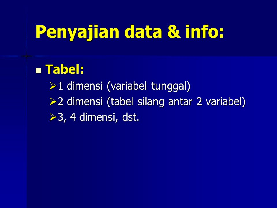 Penyajian data & info: Tabel: 1 dimensi (variabel tunggal)