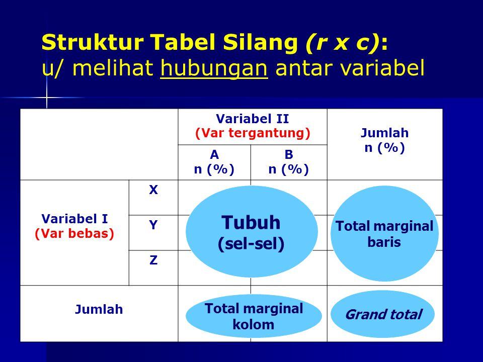 Struktur Tabel Silang (r x c): u/ melihat hubungan antar variabel
