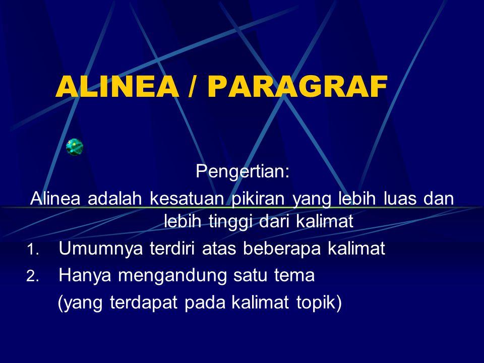 ALINEA / PARAGRAF Pengertian: