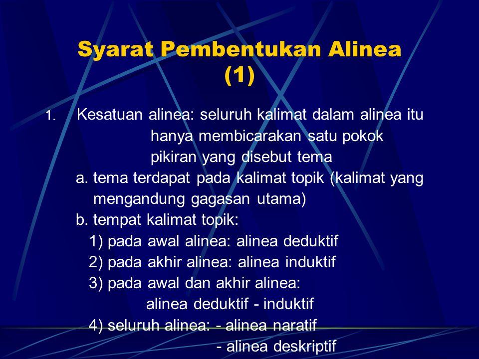 Syarat Pembentukan Alinea (1)