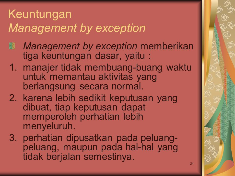 Keuntungan Management by exception