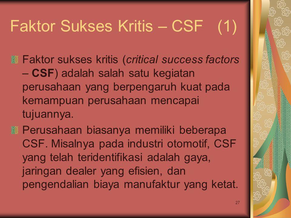 Faktor Sukses Kritis – CSF (1)