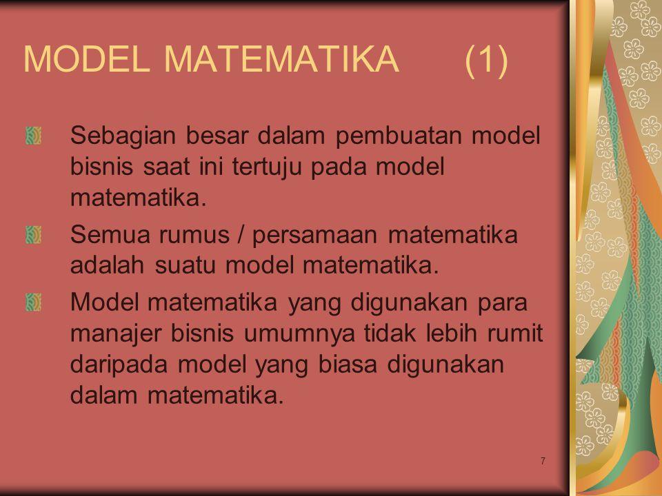 MODEL MATEMATIKA (1) Sebagian besar dalam pembuatan model bisnis saat ini tertuju pada model matematika.