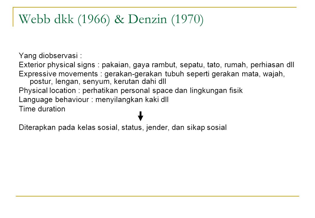 Webb dkk (1966) & Denzin (1970) Yang diobservasi :
