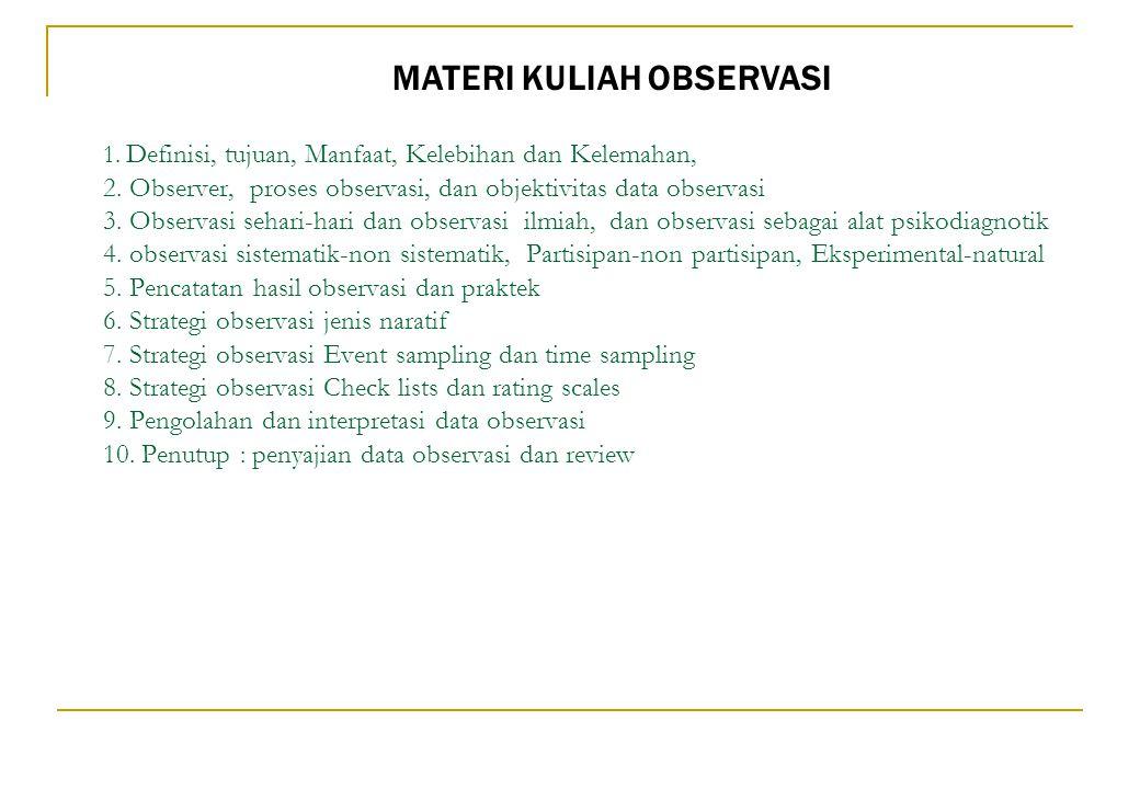 MATERI KULIAH OBSERVASI