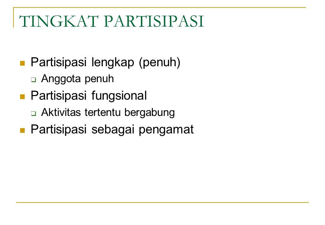 TINGKAT PARTISIPASI Partisipasi lengkap (penuh) Partisipasi fungsional