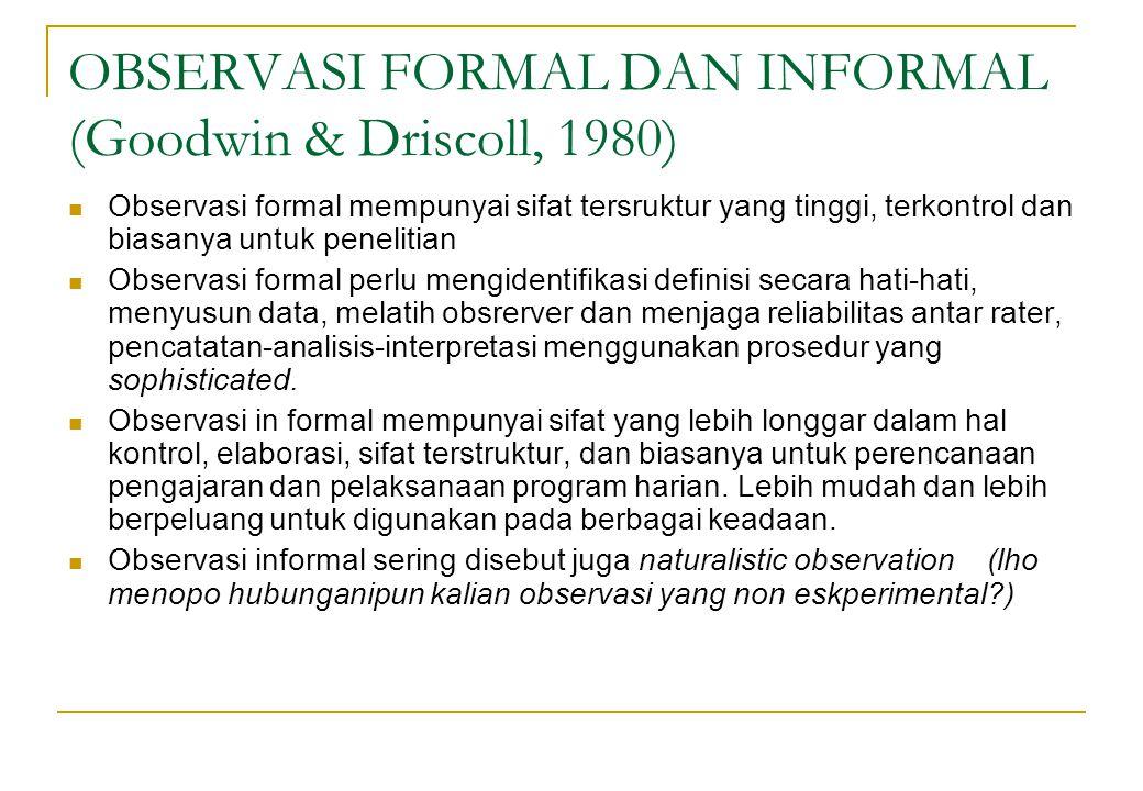 OBSERVASI FORMAL DAN INFORMAL (Goodwin & Driscoll, 1980)