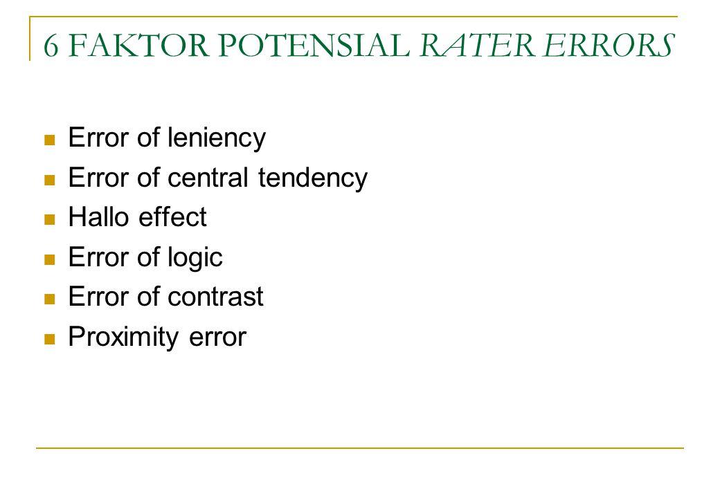 6 FAKTOR POTENSIAL RATER ERRORS