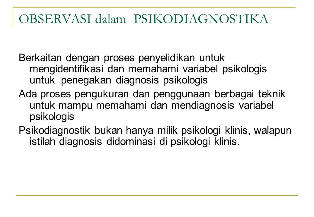 OBSERVASI dalam PSIKODIAGNOSTIKA