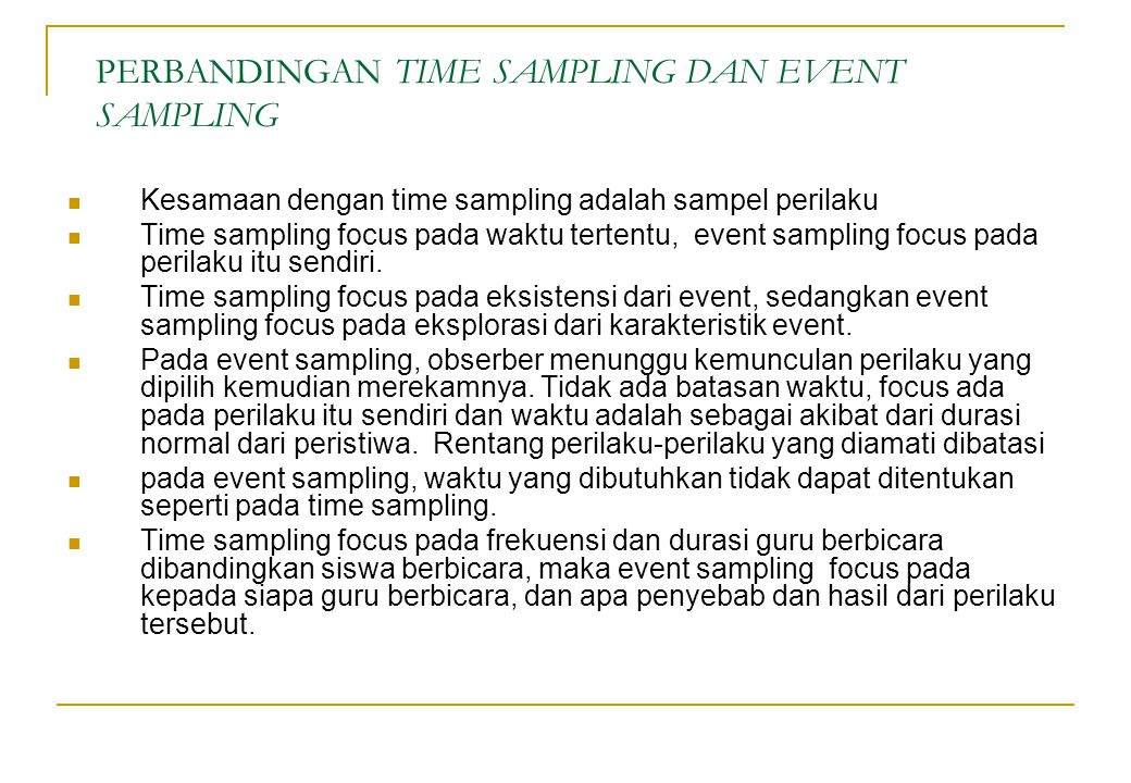 PERBANDINGAN TIME SAMPLING DAN EVENT SAMPLING