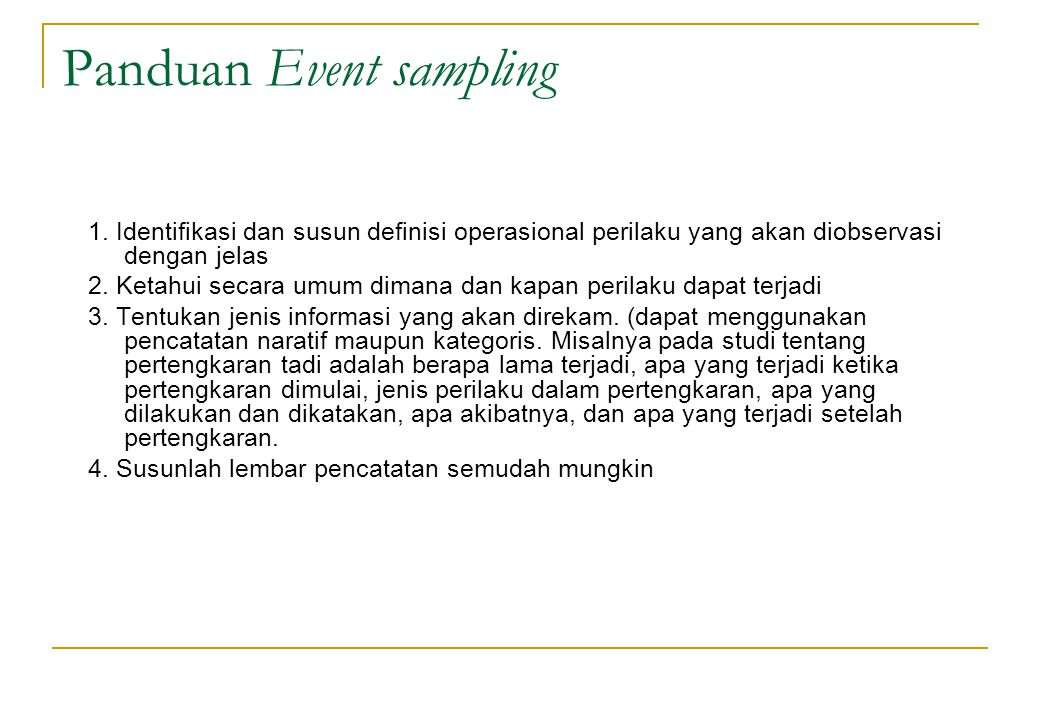 Panduan Event sampling