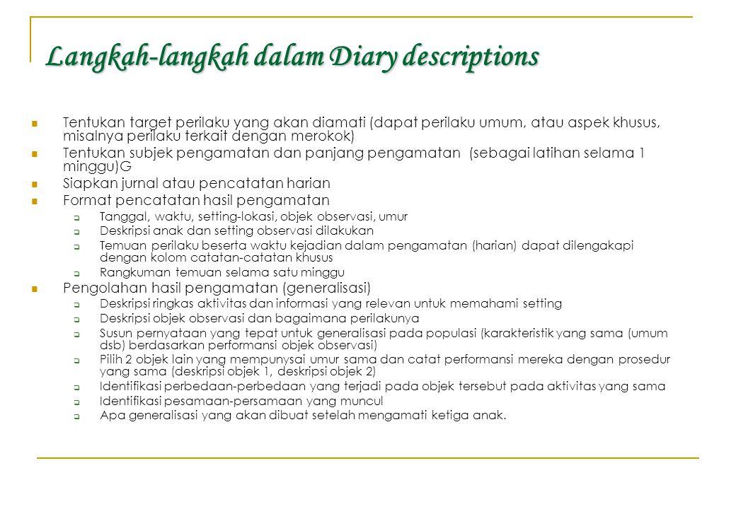 Langkah-langkah dalam Diary descriptions