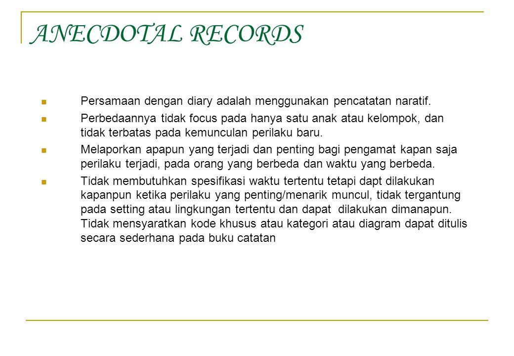 ANECDOTAL RECORDS Persamaan dengan diary adalah menggunakan pencatatan naratif.