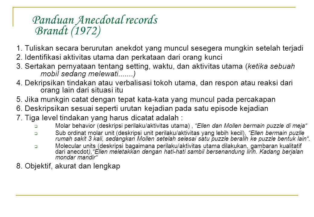 Panduan Anecdotal records Brandt (1972)