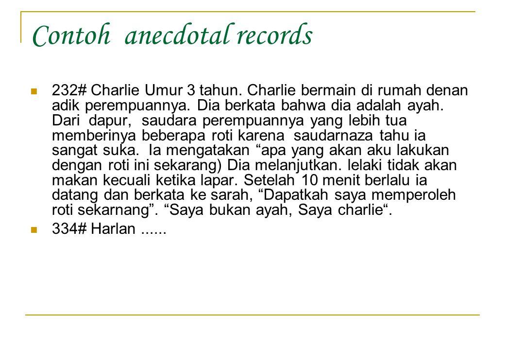 Contoh anecdotal records