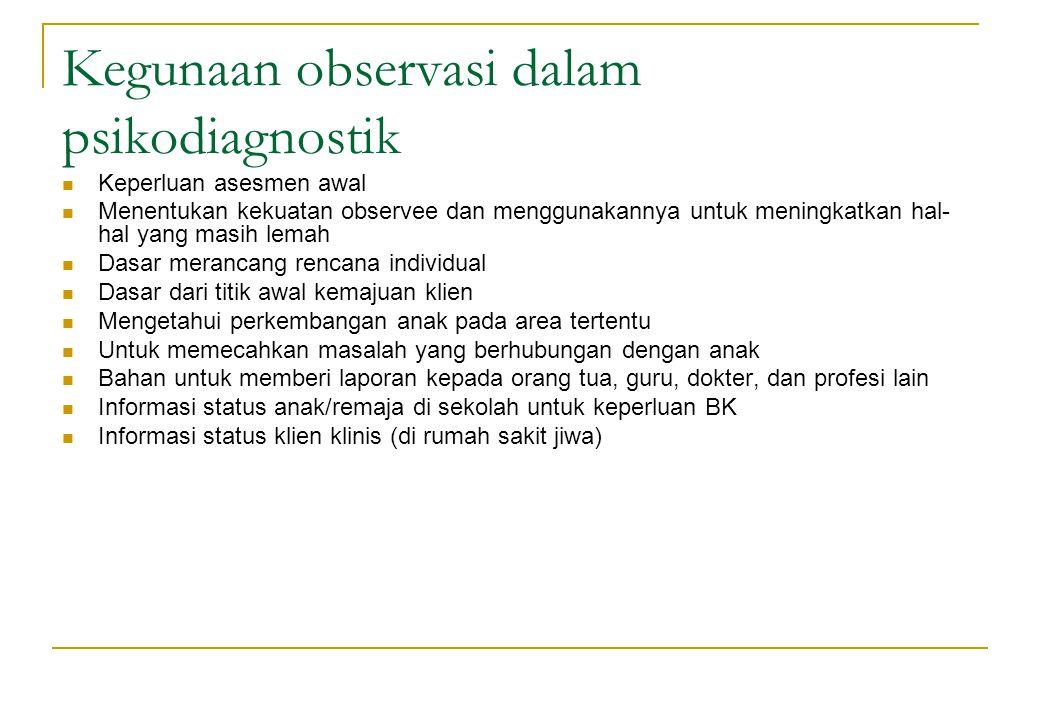 Kegunaan observasi dalam psikodiagnostik