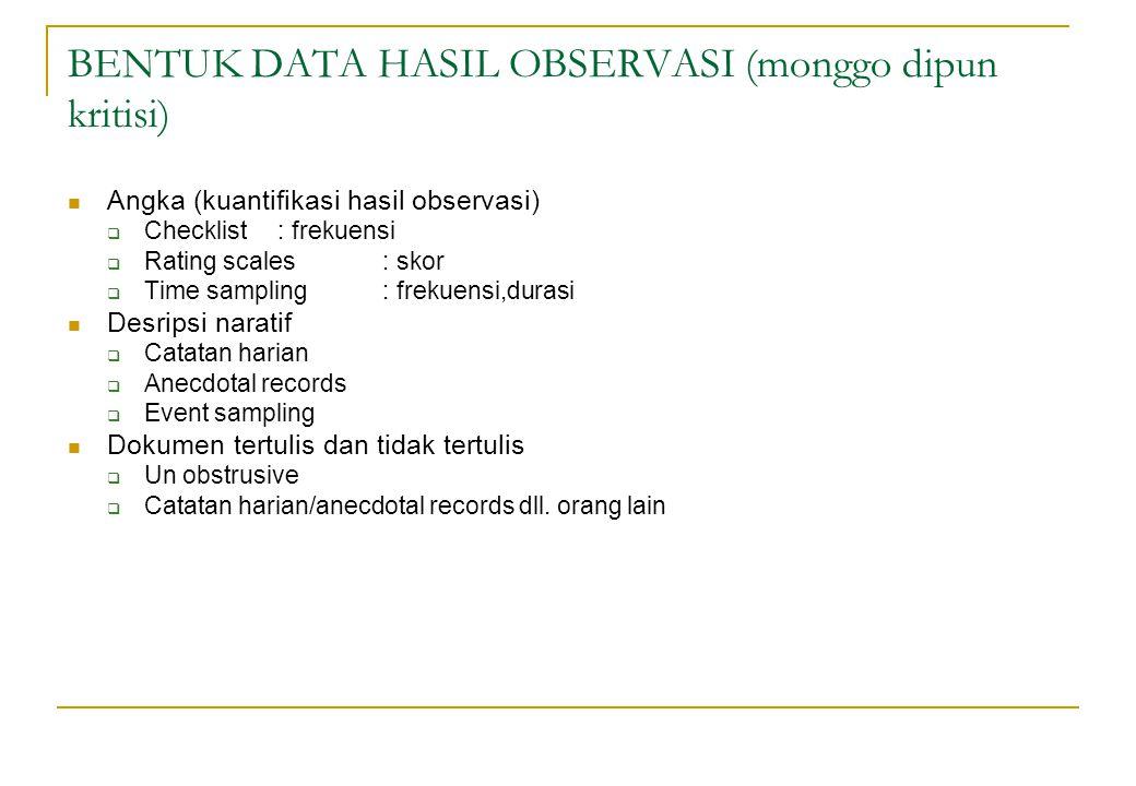 BENTUK DATA HASIL OBSERVASI (monggo dipun kritisi)