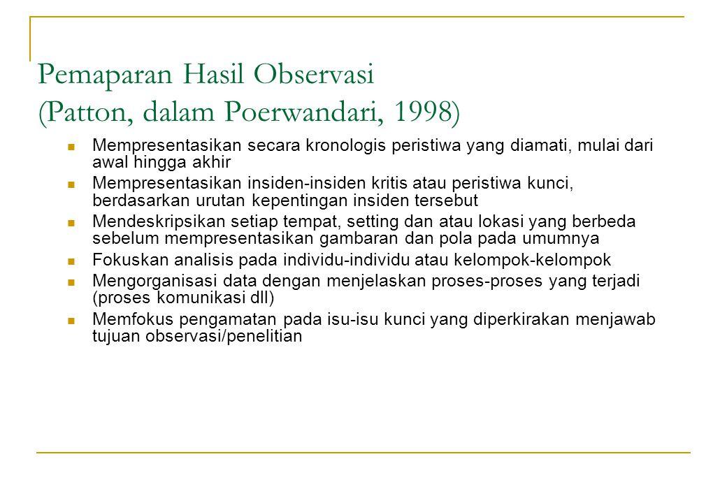 Pemaparan Hasil Observasi (Patton, dalam Poerwandari, 1998)