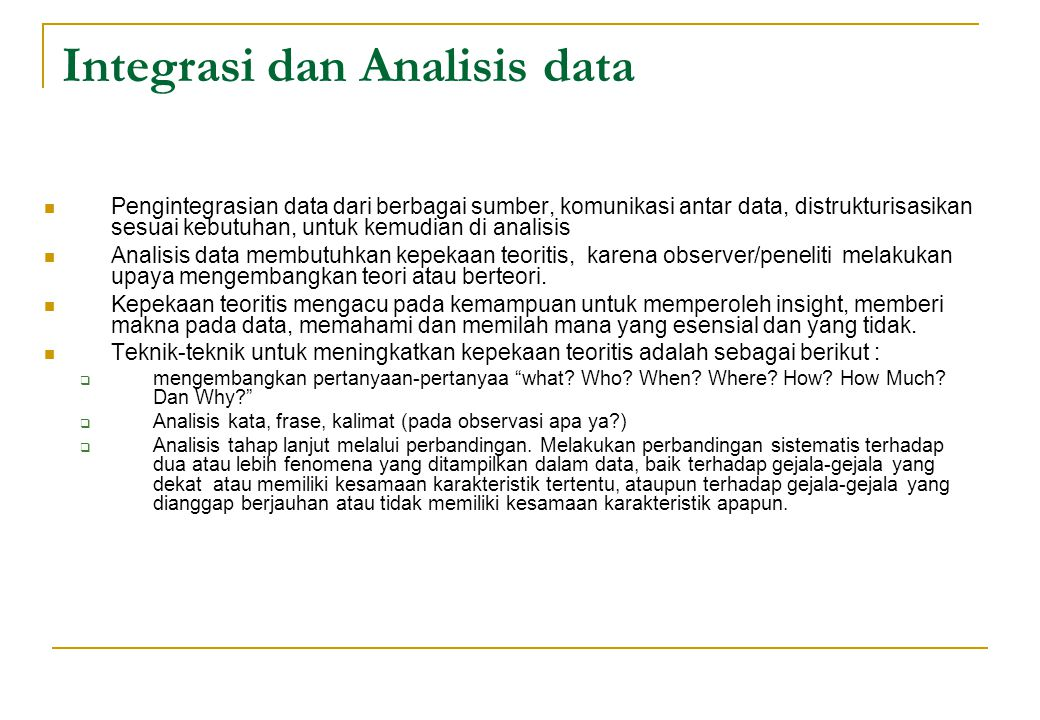 Integrasi dan Analisis data