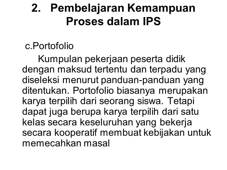 2. Pembelajaran Kemampuan Proses dalam IPS