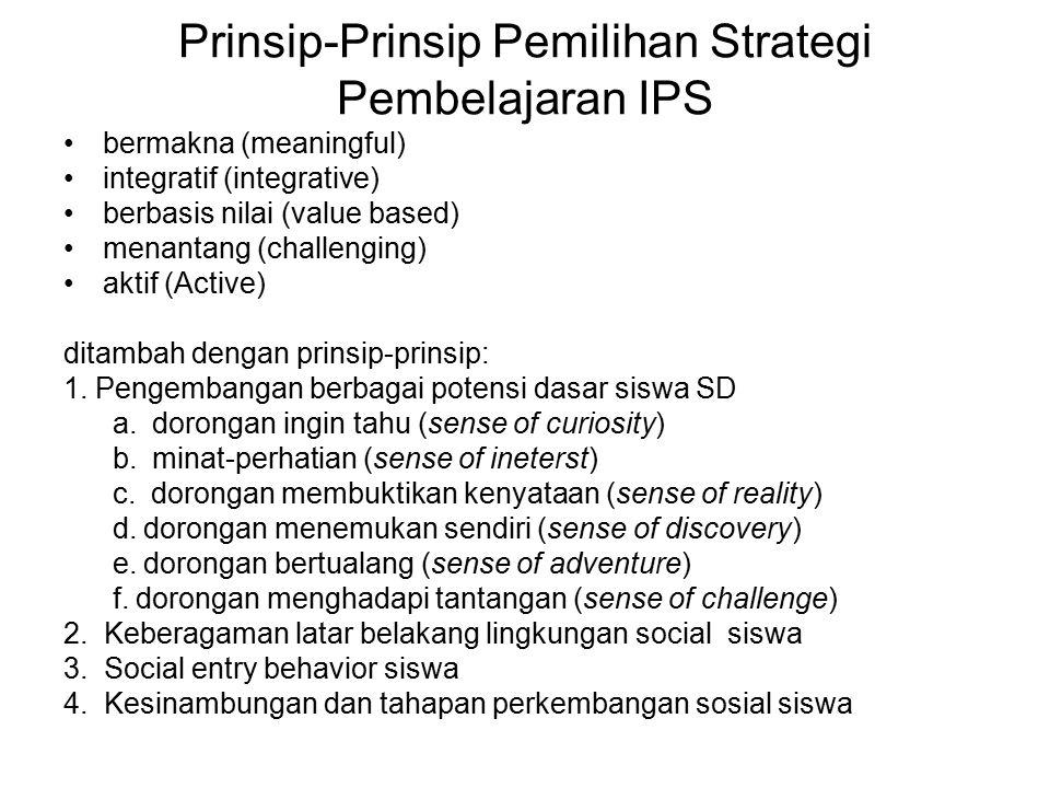 Prinsip-Prinsip Pemilihan Strategi Pembelajaran IPS