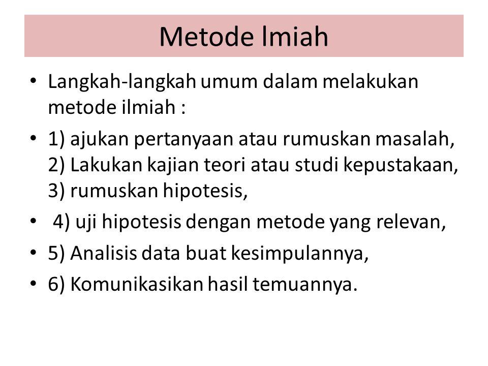 Metode lmiah Langkah-langkah umum dalam melakukan metode ilmiah :