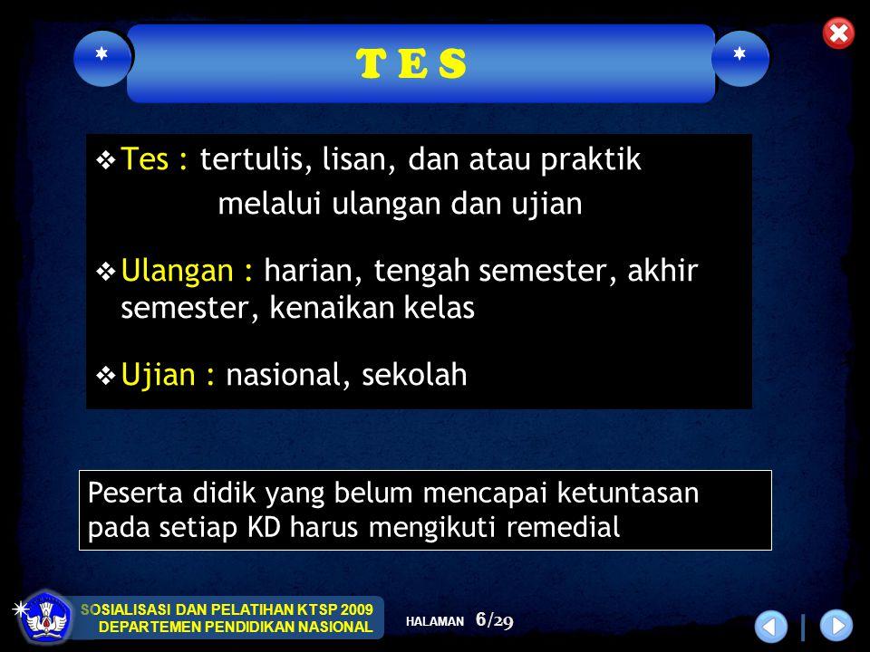 T E S Tes : tertulis, lisan, dan atau praktik