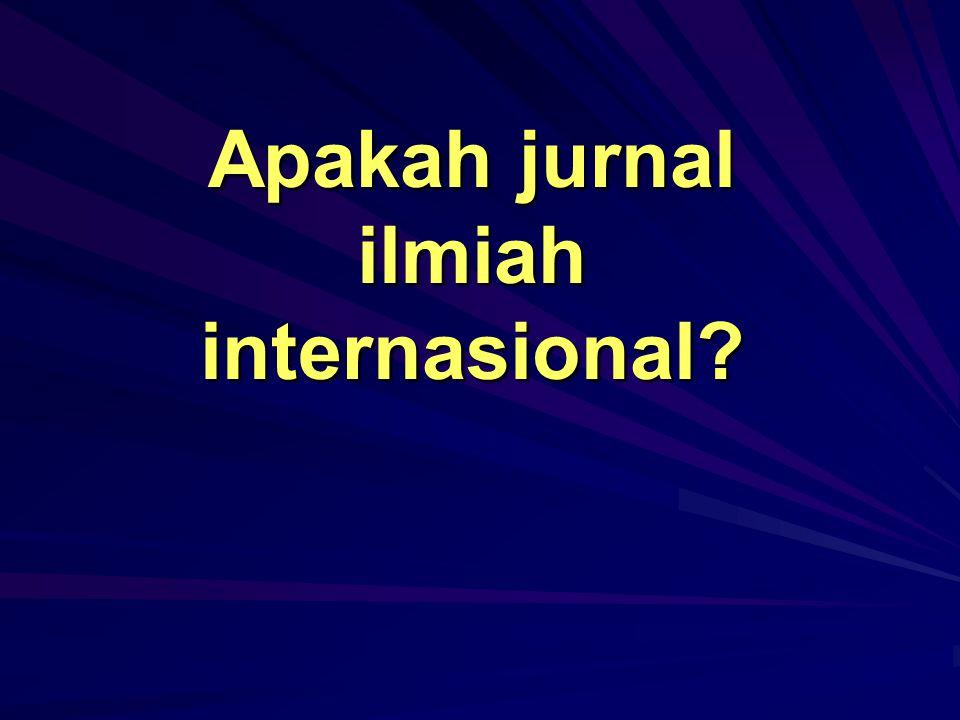 Apakah jurnal ilmiah internasional