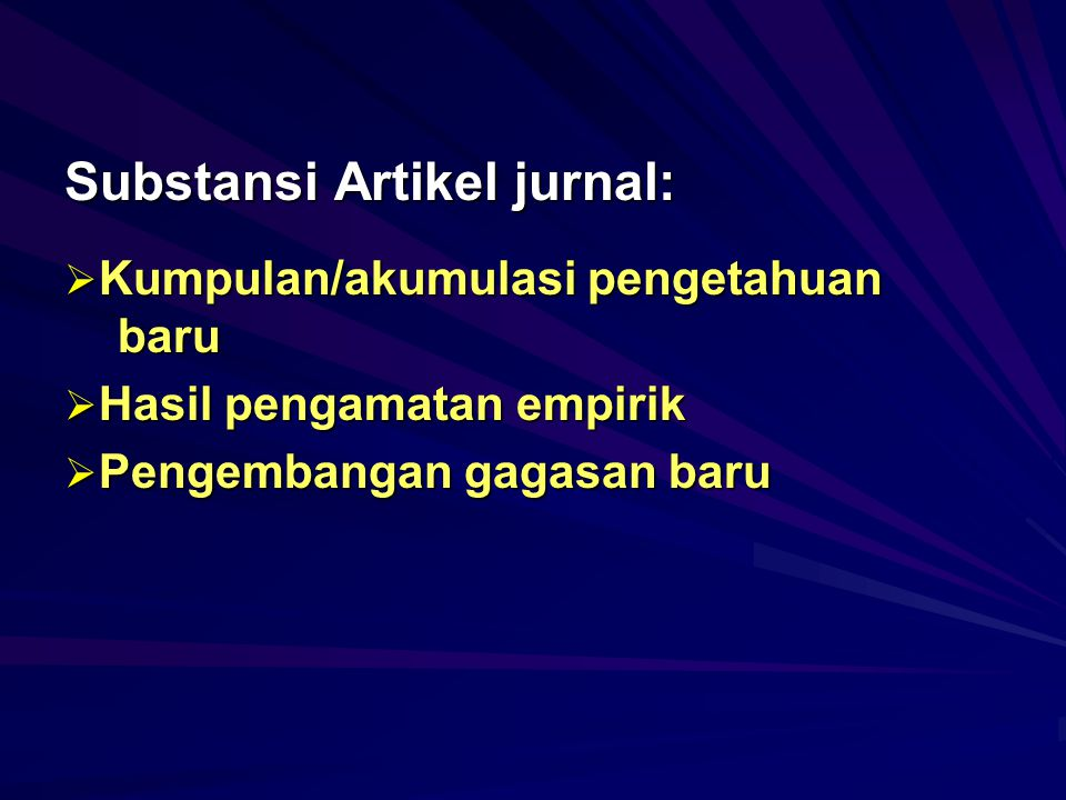 Substansi Artikel jurnal: