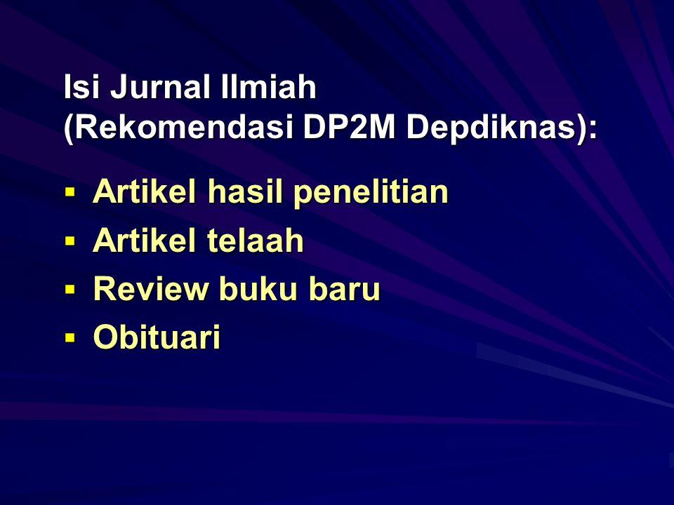 Isi Jurnal Ilmiah (Rekomendasi DP2M Depdiknas):