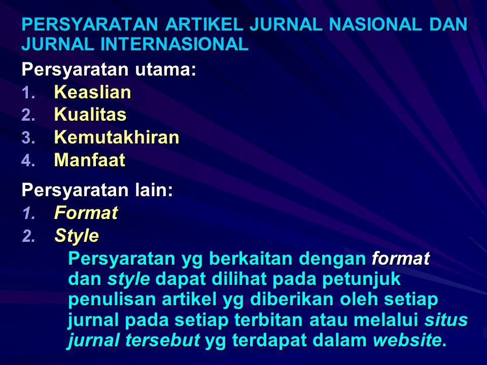 PERSYARATAN ARTIKEL JURNAL NASIONAL DAN JURNAL INTERNASIONAL