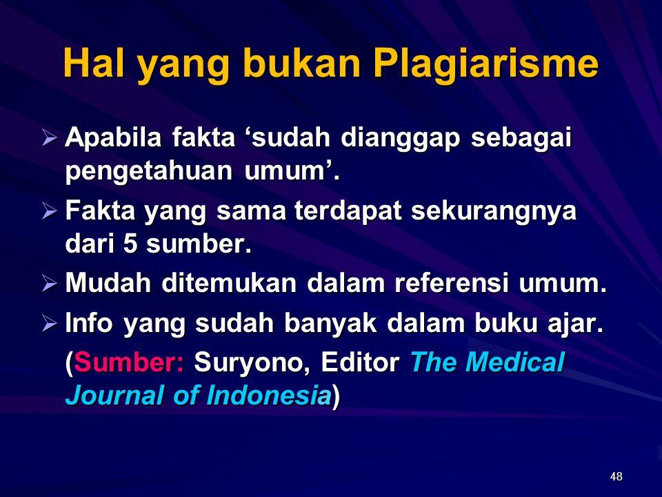 Hal yang bukan Plagiarisme