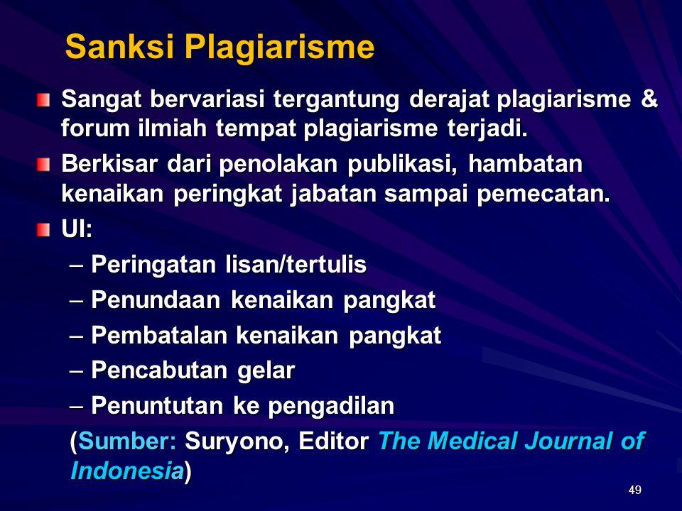 Sanksi Plagiarisme Sangat bervariasi tergantung derajat plagiarisme & forum ilmiah tempat plagiarisme terjadi.