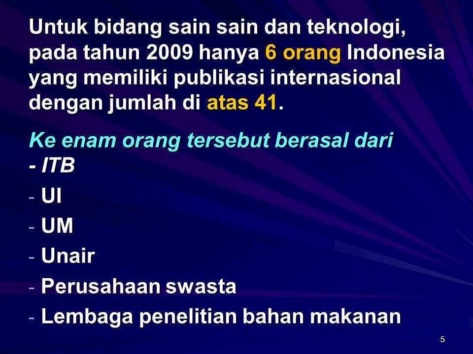 Untuk bidang sain sain dan teknologi, pada tahun 2009 hanya 6 orang Indonesia yang memiliki publikasi internasional dengan jumlah di atas 41.