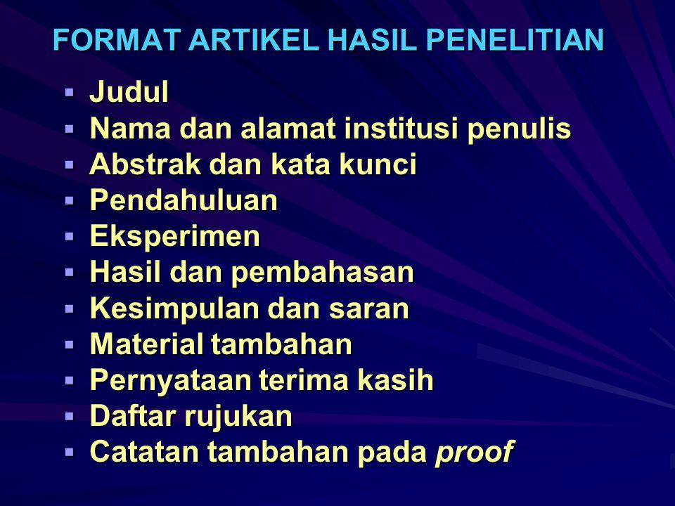 FORMAT ARTIKEL HASIL PENELITIAN