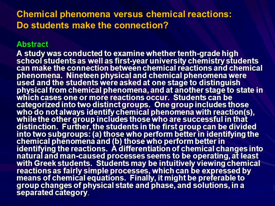 Chemical phenomena versus chemical reactions: