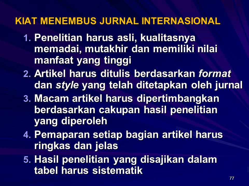 KIAT MENEMBUS JURNAL INTERNASIONAL