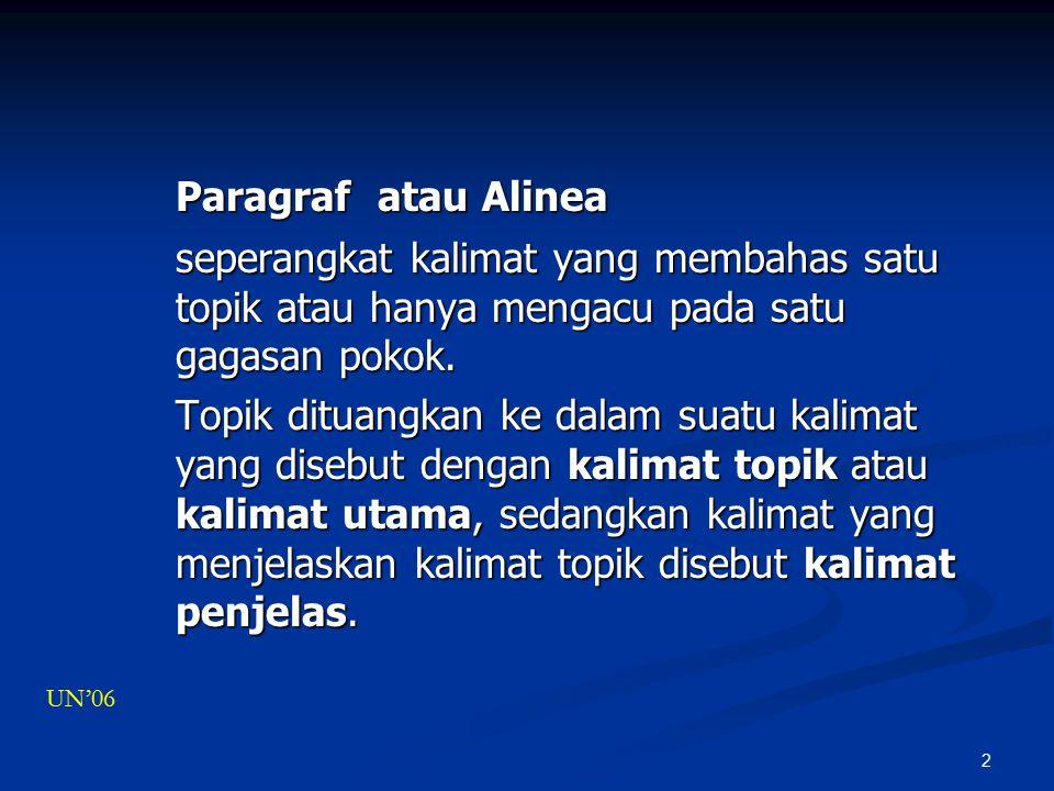 Paragraf atau Alinea seperangkat kalimat yang membahas satu topik atau hanya mengacu pada satu gagasan pokok.