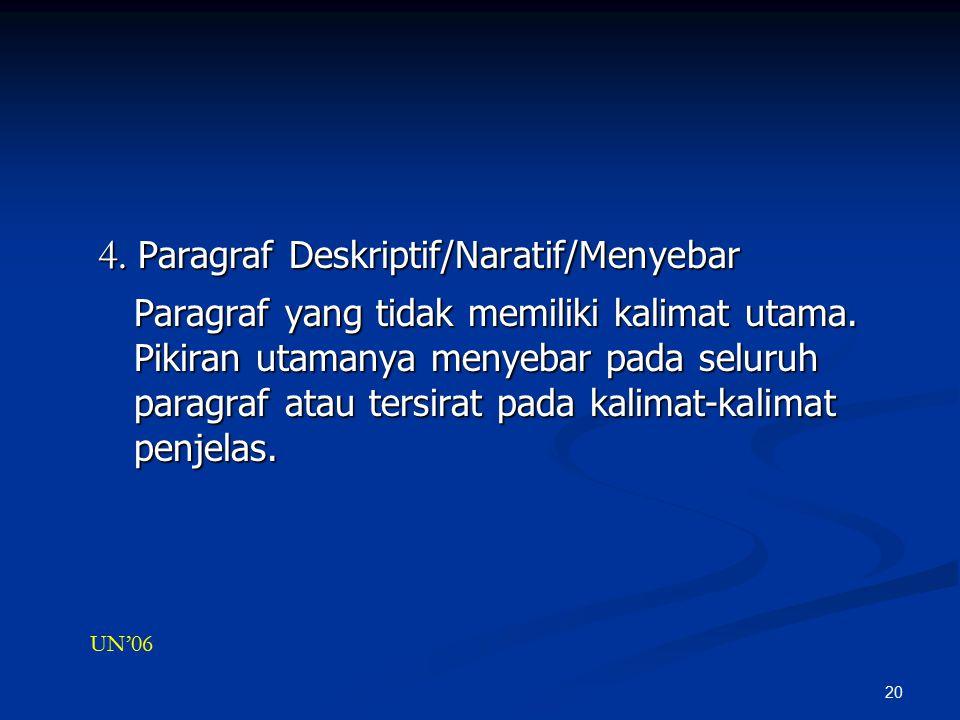 4. Paragraf Deskriptif/Naratif/Menyebar