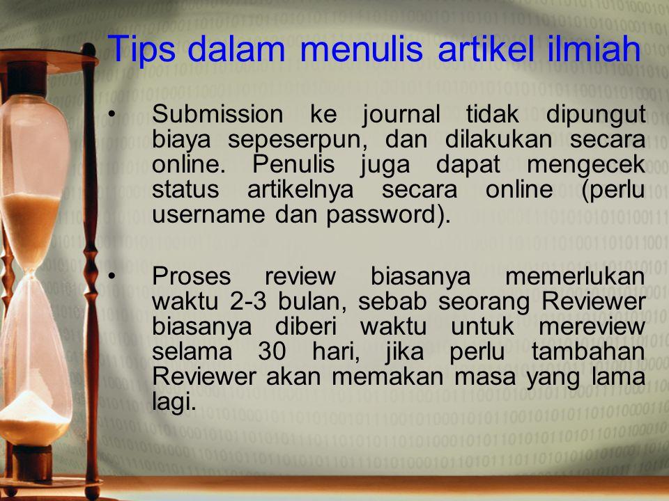 Tips dalam menulis artikel ilmiah