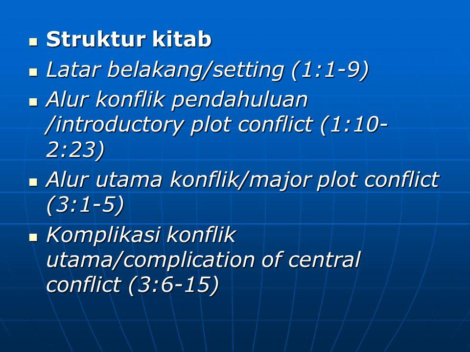 Struktur kitab Latar belakang/setting (1:1-9) Alur konflik pendahuluan /introductory plot conflict (1:10-2:23)