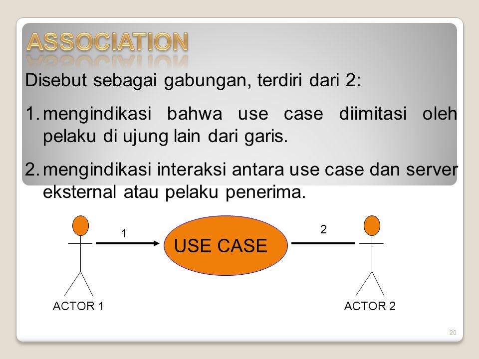 ASSOCIATION Disebut sebagai gabungan, terdiri dari 2: