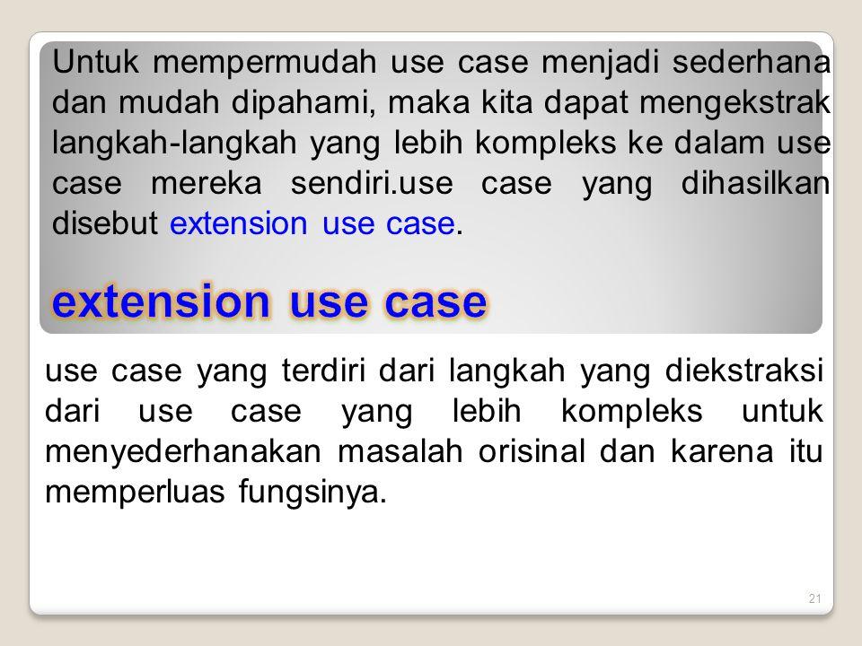 Untuk mempermudah use case menjadi sederhana dan mudah dipahami, maka kita dapat mengekstrak langkah-langkah yang lebih kompleks ke dalam use case mereka sendiri.use case yang dihasilkan disebut extension use case.