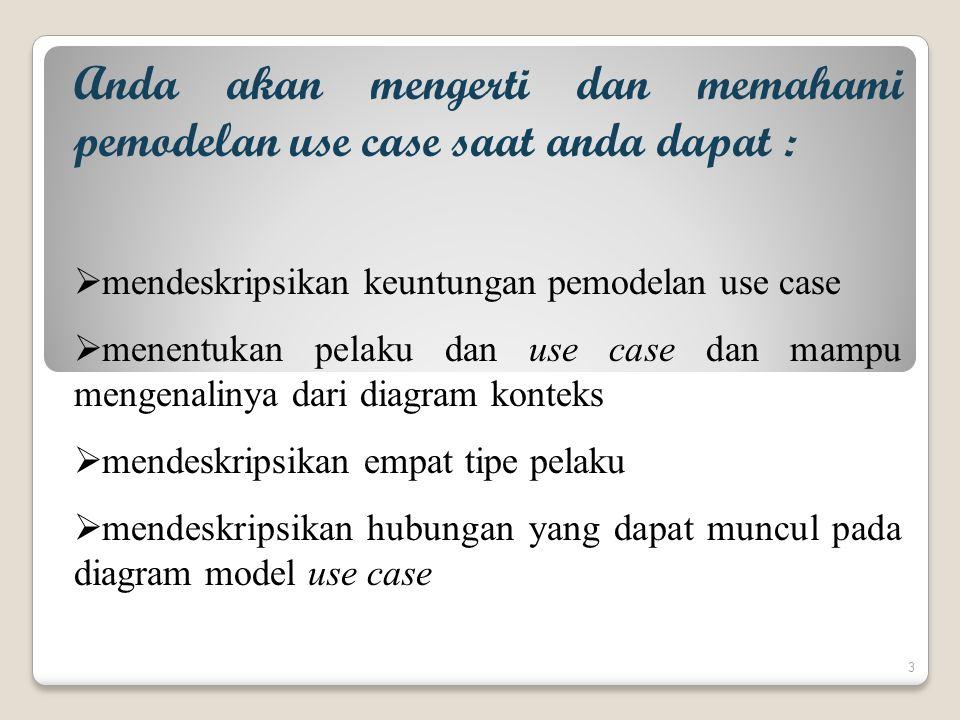 Anda akan mengerti dan memahami pemodelan use case saat anda dapat :