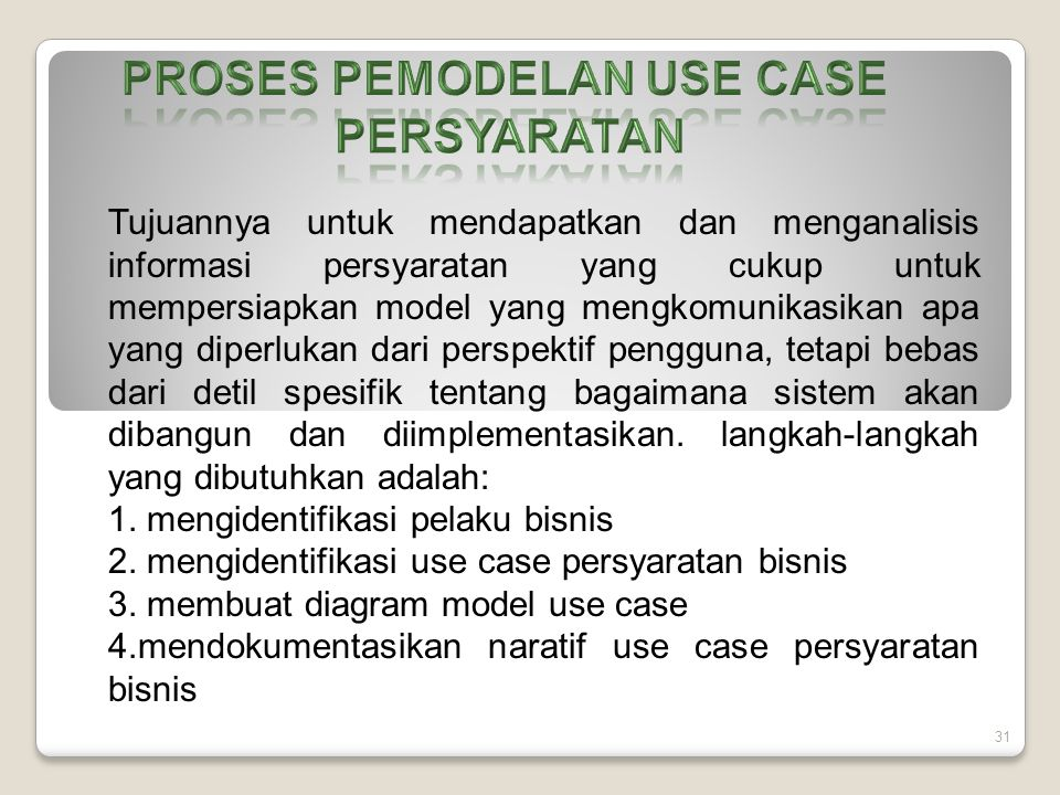 PROSES PEMODELAN USE CASE