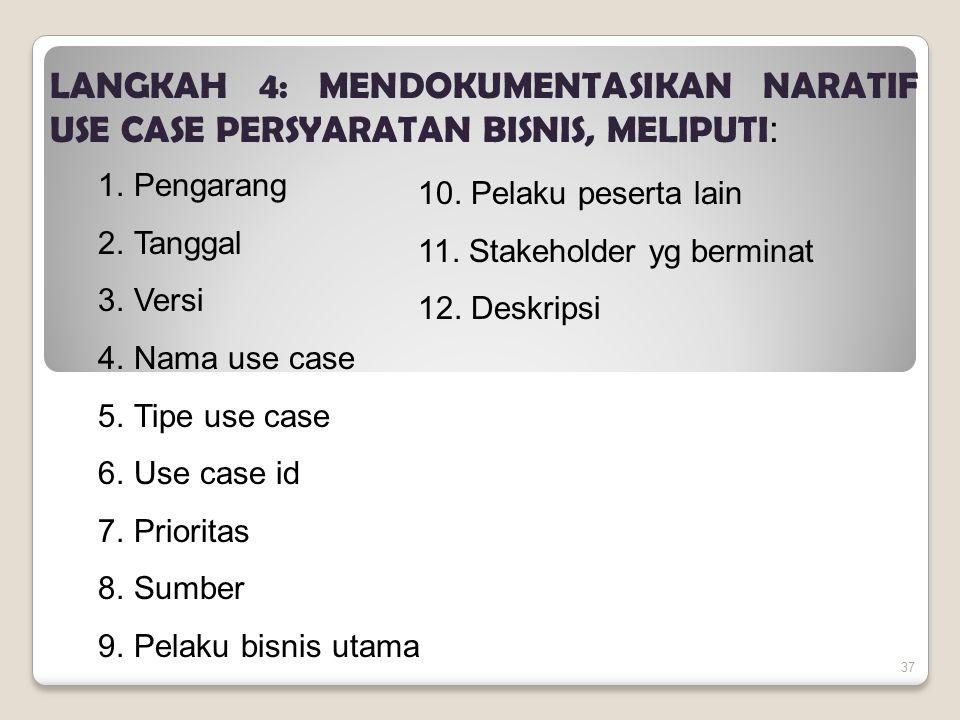LANGKAH 4: MENDOKUMENTASIKAN NARATIF USE CASE PERSYARATAN BISNIS, MELIPUTI: