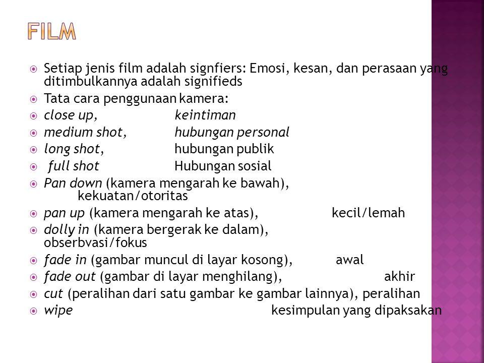 Film Setiap jenis film adalah signfiers: Emosi, kesan, dan perasaan yang ditimbulkannya adalah signifieds.